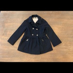 Burberry Navy Rain Coat/ Jacket.  Girls size 5